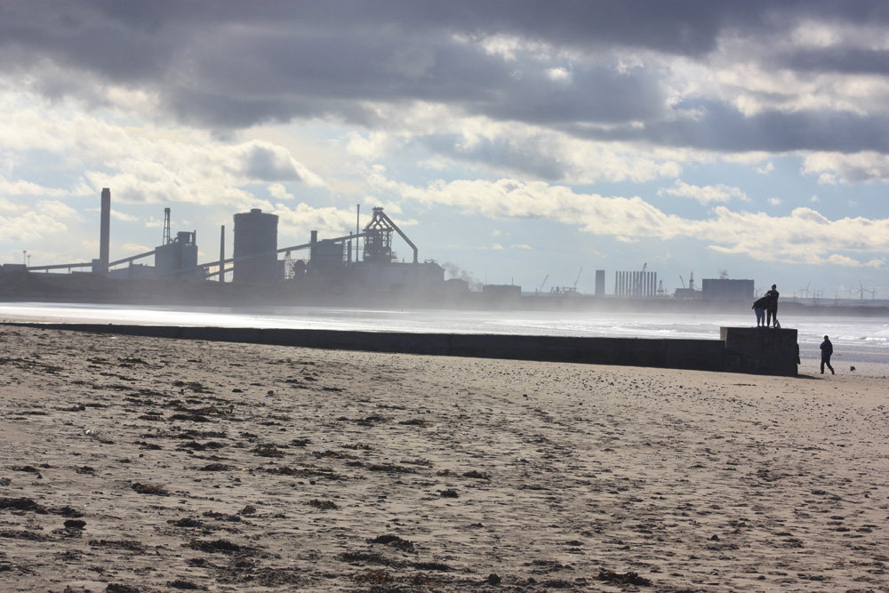 Steelworks pictured from Redcar beach