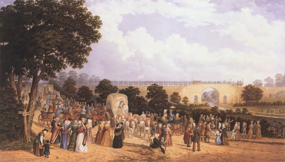 Painting of the opening of the Stockton and Darlington Railway in 1825,
