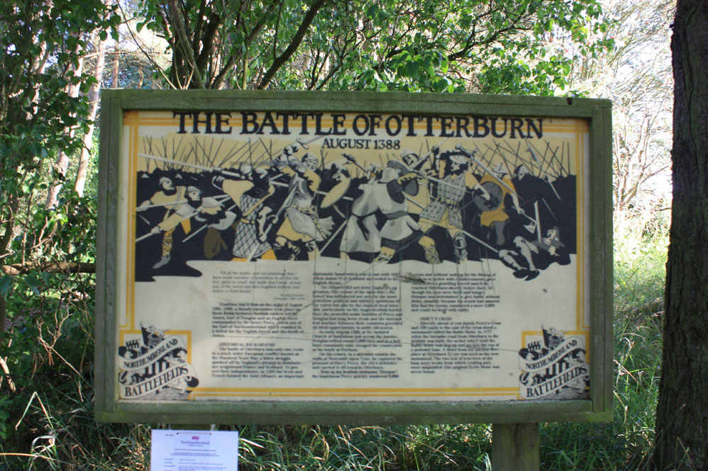 Information board at the Battle of Otterburn site