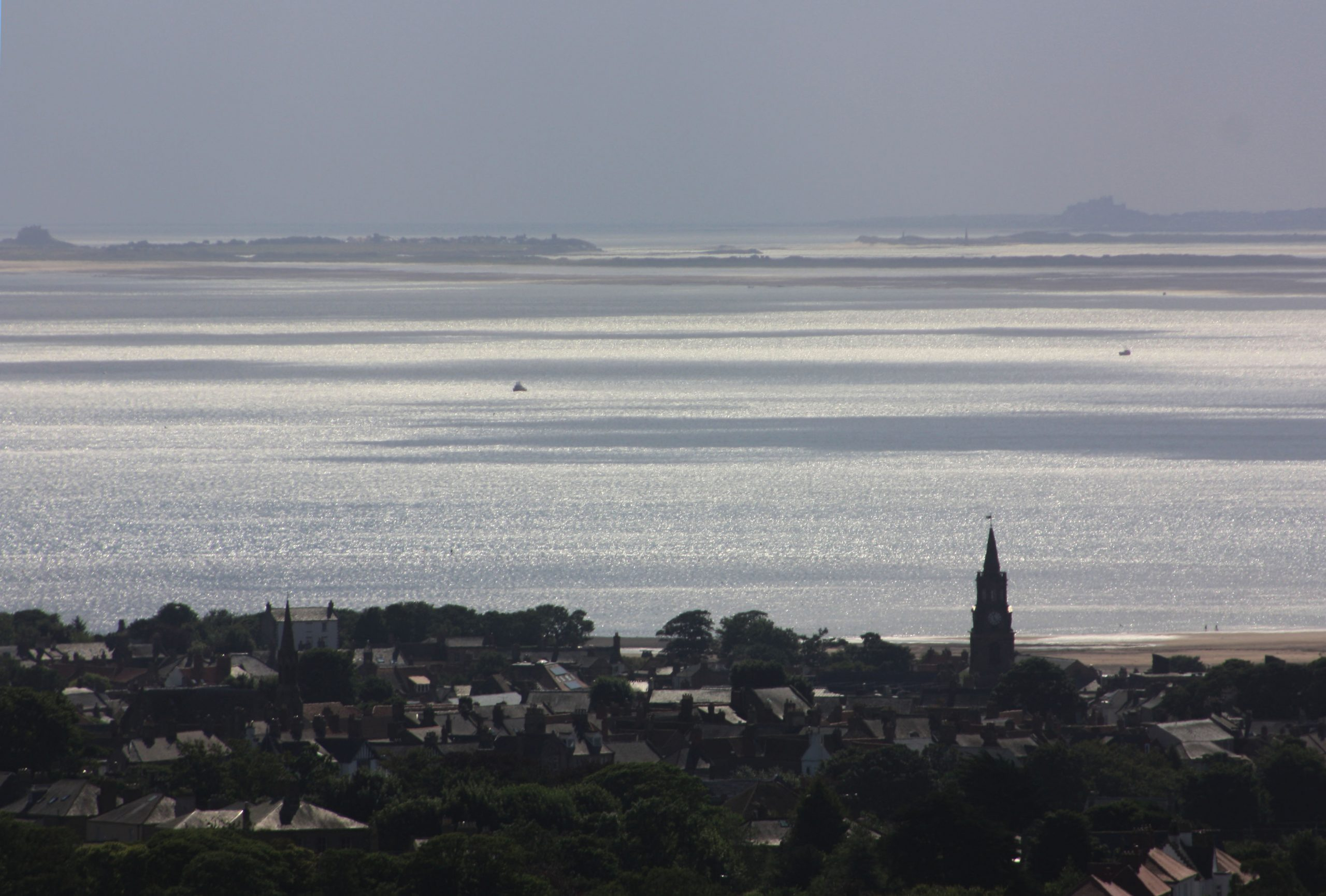Berwick from Halidon Hill with Bamburgh and Lindisfarne in the distance