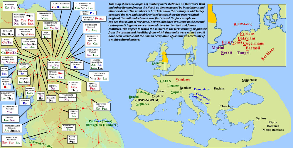 Geographical origins of military units in northern Roman forts
