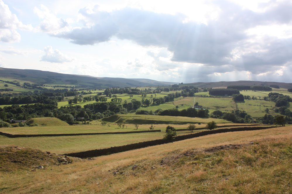 Sunlight over Weardale pictured from Crawleyside