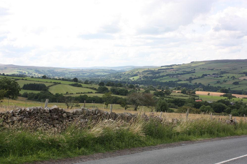 Weardale: Looking west along the dale towards Frosterley