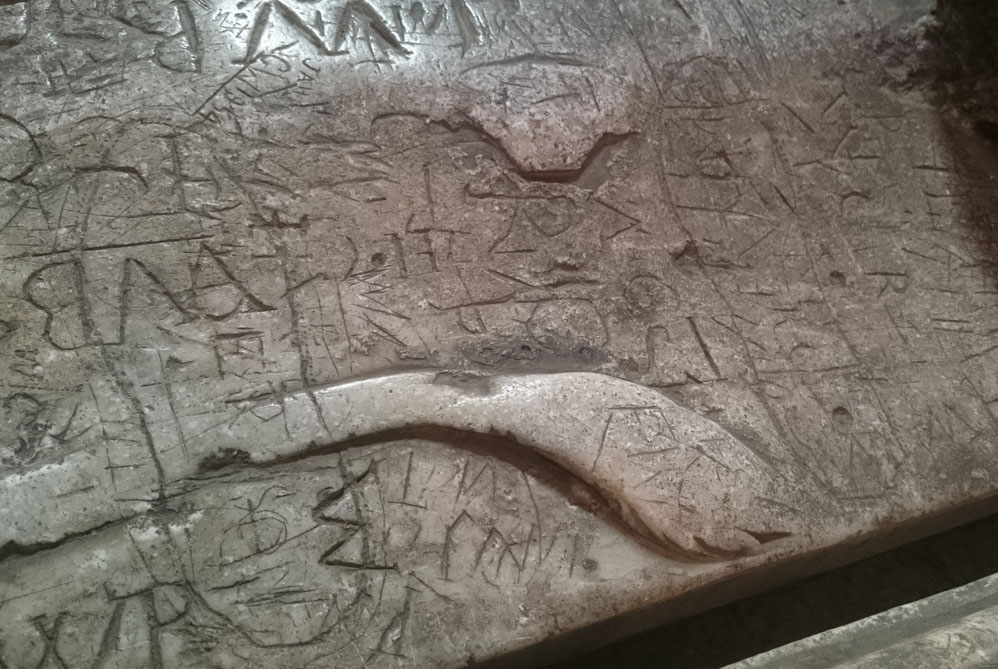 Neville tomb with graffiti Durham Cathedral