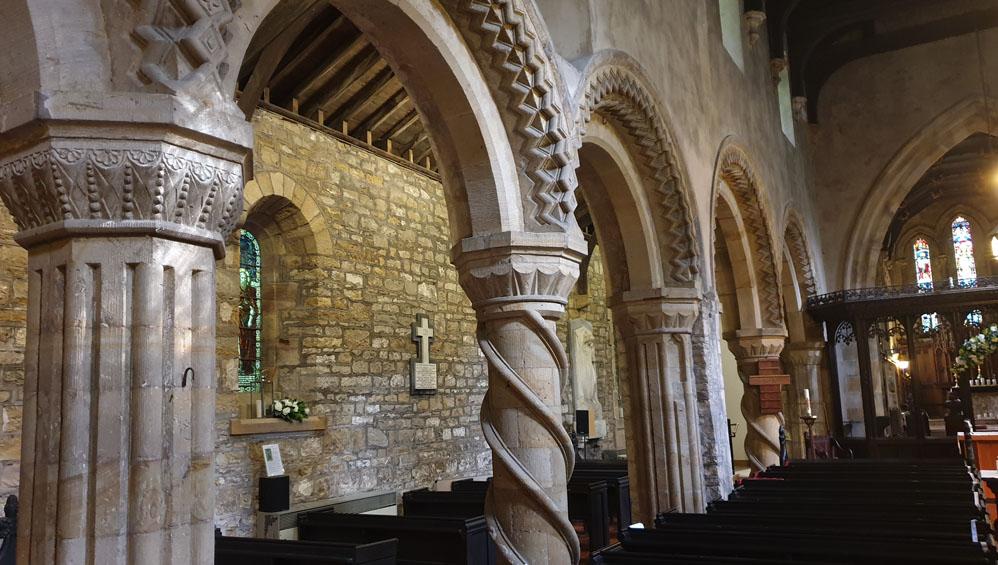 Inside St Laurence church, Hallgarth, Pittington