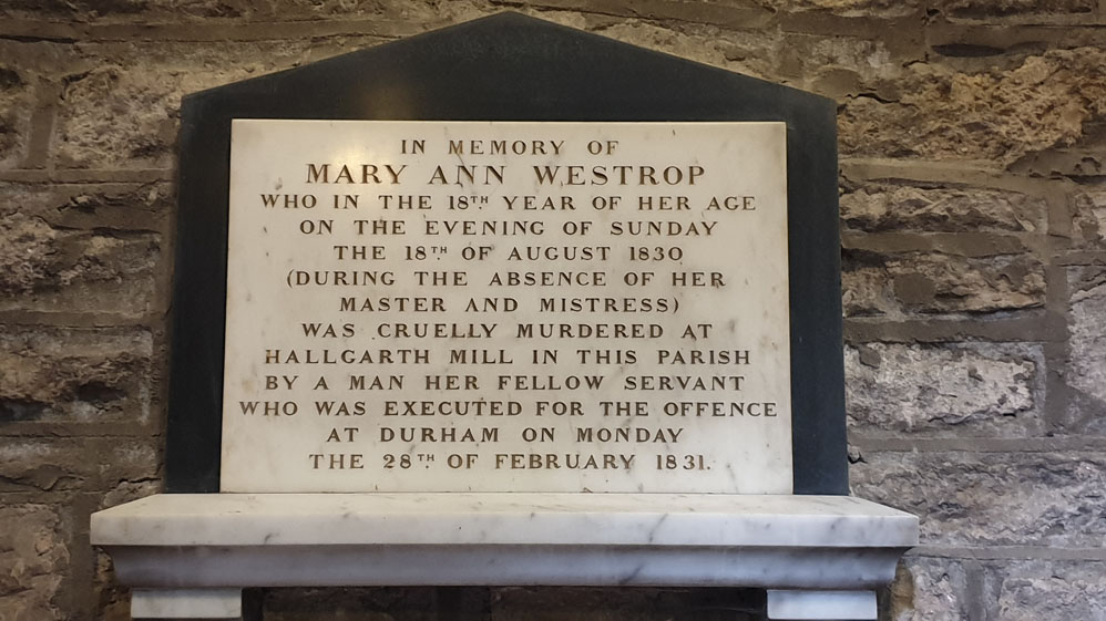 Memorial to Mary Ann Westrop at Pittington