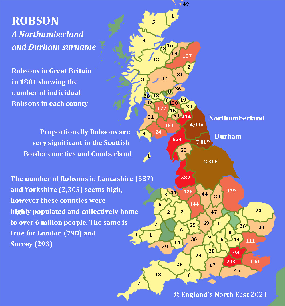 Robson surname in 1881 © David Simpson 2021